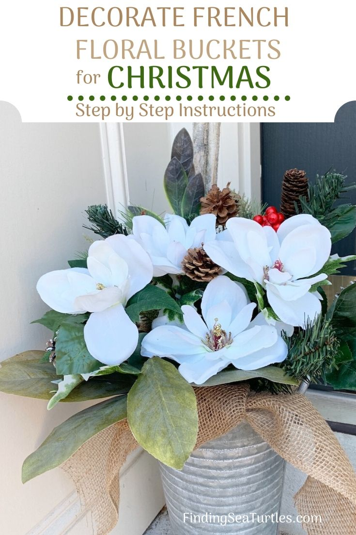 DECORATE FRENCH FLORAL BUCKETS for Christmas Step by Step #DIY #DIYChristmasDecor #ChristmasDecor #ChristmasEntrywayDecor #DIYFrenchFloralBucketDecor #FrenchFloralBucketDecor #GalvanizedFloralBucketDecor #DecorTutorial