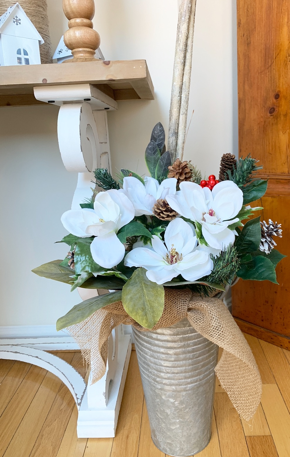 Decorate French Floral Buckets for Christmas Entryway Galvanized Floral Bucket Decor #DIY #DIYChristmasDecor #ChristmasDecor #ChristmasEntrywayDecor #DIYFrenchFloralBucketDecor #FrenchFloralBucketDecor #GalvanizedFloralBucketDecor #DecorTutorial