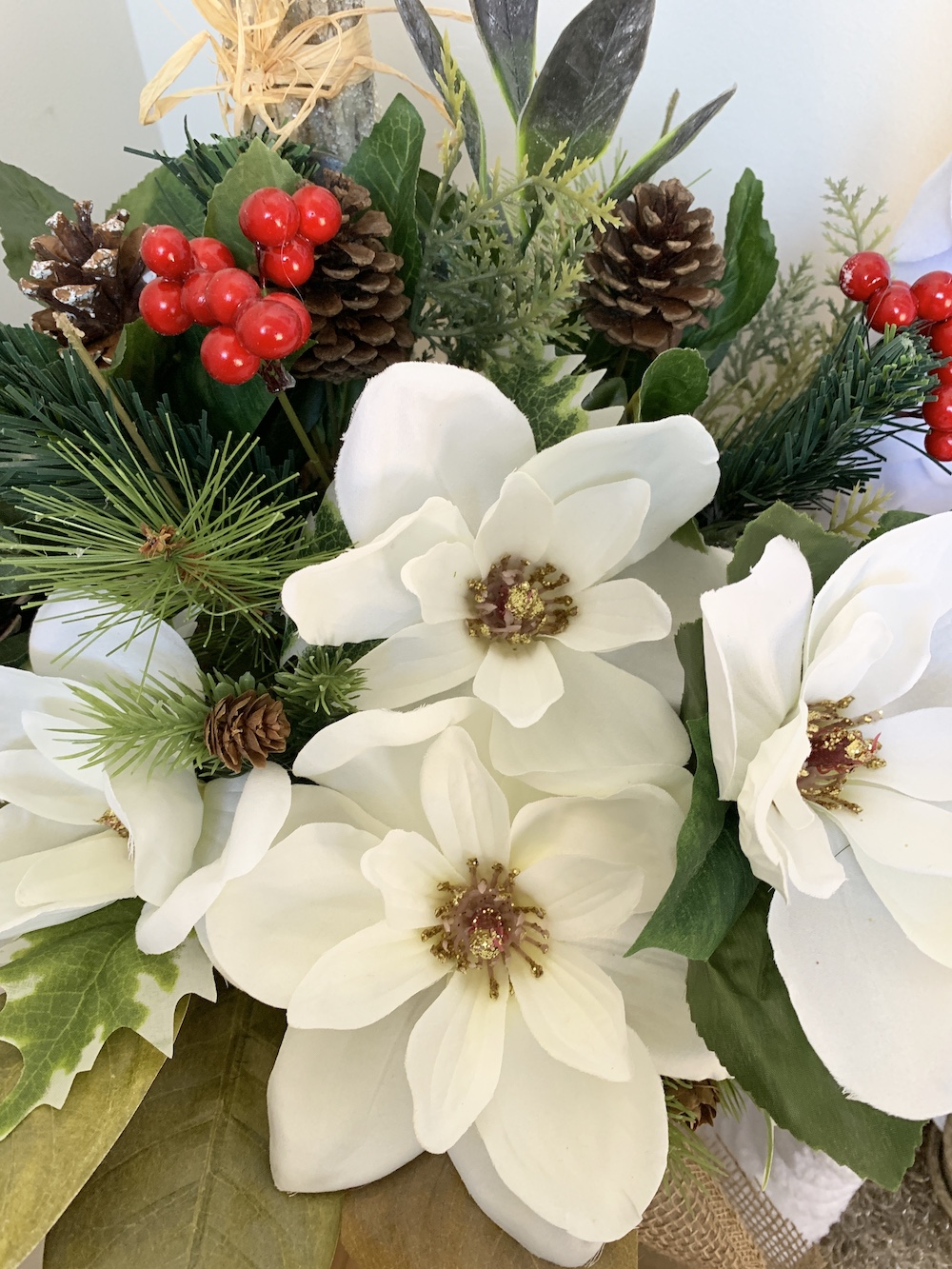 Decorate French Floral Buckets for Christmas Faux Magnolia and Evergreens in Floral Bucket