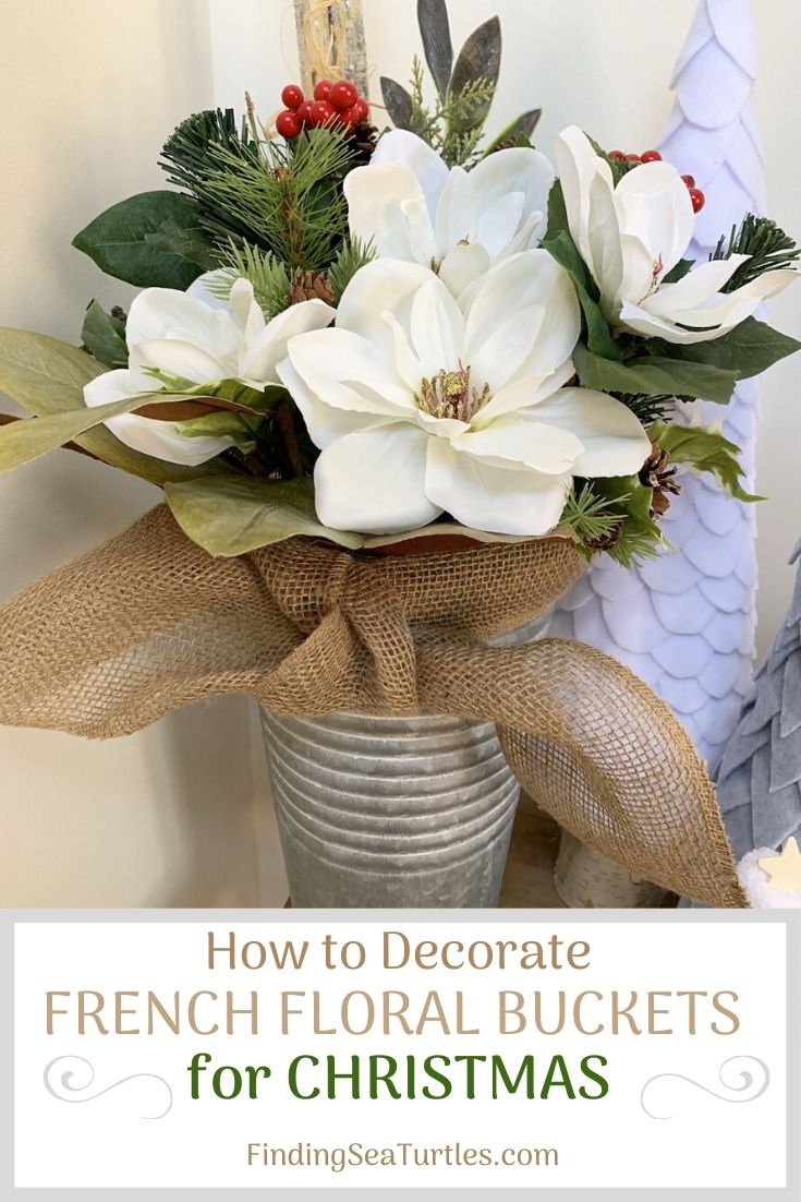 How to Decorate French Floral Buckets for Christmas #DIY #DIYChristmasDecor #ChristmasDecor #ChristmasEntrywayDecor #DIYFrenchFloralBucketDecor #FrenchFloralBucketDecor #GalvanizedFloralBucketDecor #DecorTutorial