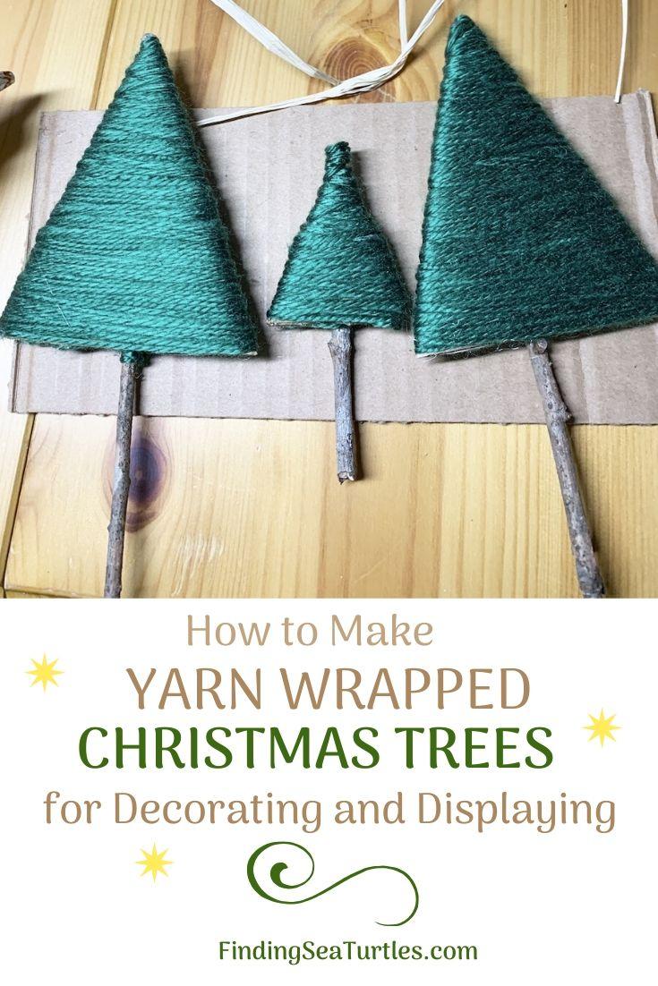 How to Make Yarn Wrapped Christmas Trees for Decorating #DIY #DIYChristmasTree #ChristmasDecor #ChristmasTableTop #DIYChristmasProject #RusticDecor
