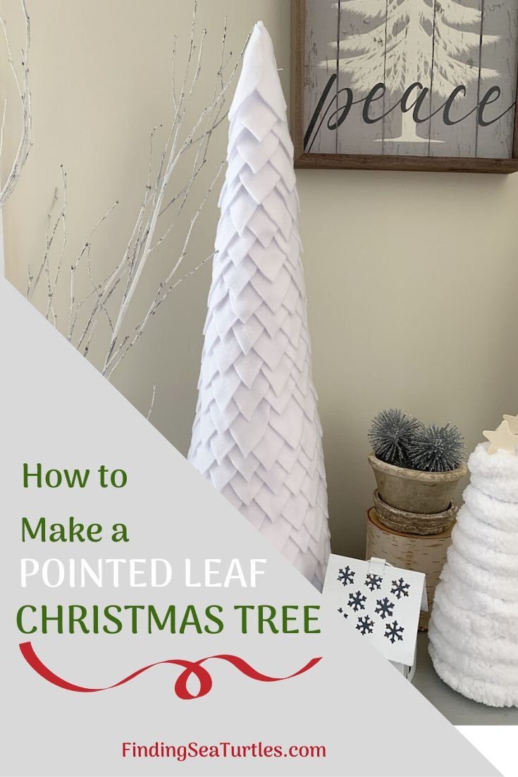 How to Make a Pointed Leaf Christmas Tree #DIY #DIYChristmasTree #ChristmasDecor #ChristmasTableTop #DIYChristmasProject #FeltChristmasTree