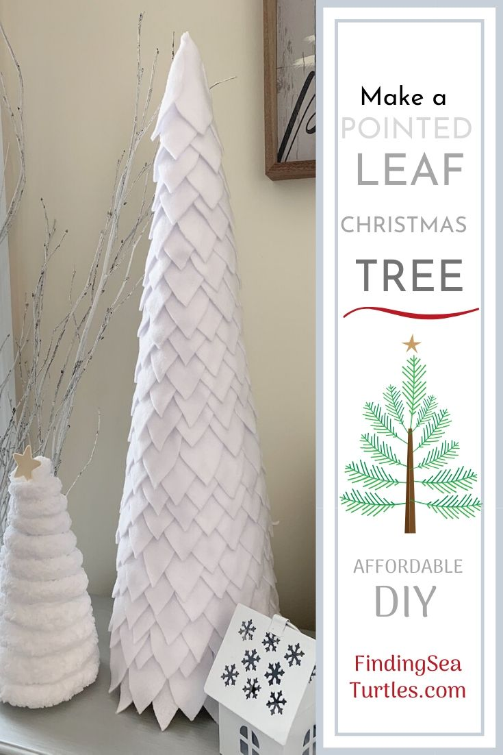 Make a Pointed Leaf Christmas Tree Affordable DIY #DIY #DIYChristmasTree #ChristmasDecor #ChristmasTableTop #DIYChristmasProject #FeltChristmasTree