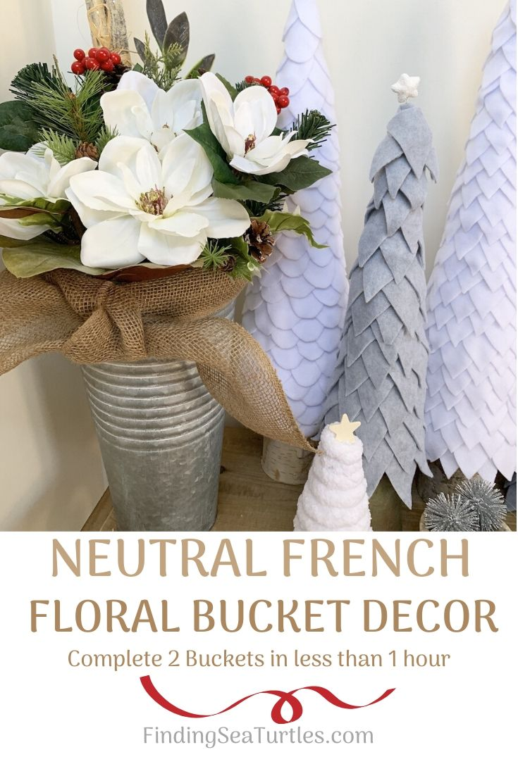 NEUTRAL FRENCH FLORAL BUCKET DECOR for Your Home #DIY #DIYChristmasDecor #ChristmasDecor #ChristmasEntrywayDecor #DIYFrenchFloralBucketDecor #FrenchFloralBucketDecor #GalvanizedFloralBucketDecor #DecorTutorial