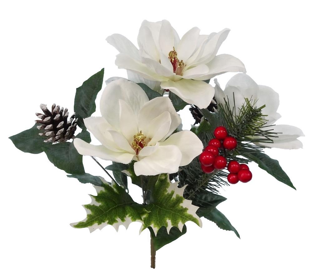DIY Floral Bucket White Magnolia Mix #DIY #DIYChristmasDecor #ChristmasDecor #ChristmasEntrywayDecor #DIYFrenchFloralBucketDecor #FrenchFloralBucketDecor #GalvanizedFloralBucketDecor #DecorTutorial