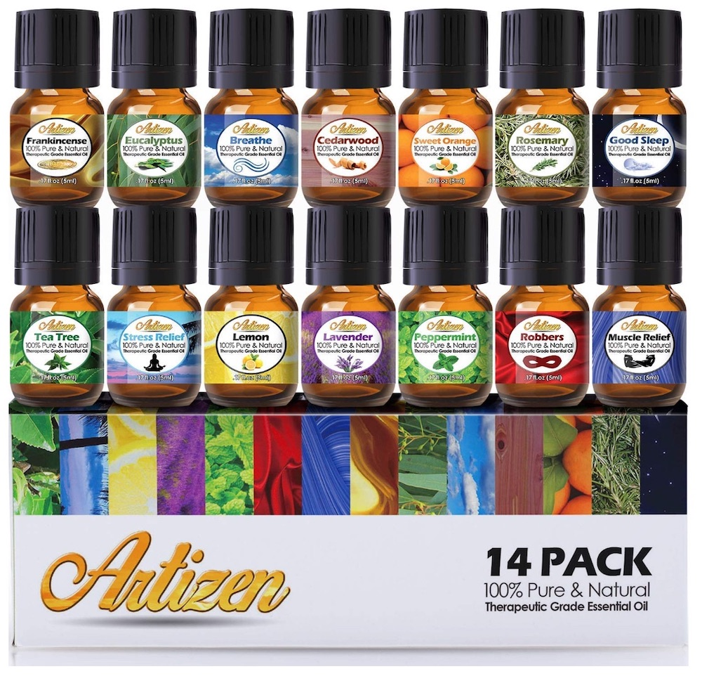 Accessories to Create a Home Spa Artizen Aromatherapy 14 Essential Oils Set #Spa #bathroom #HomeSpa #PamperYourself #SpaAccessories #MeTime #BathSpa #DIYHomeSpa #Relax #Soothing