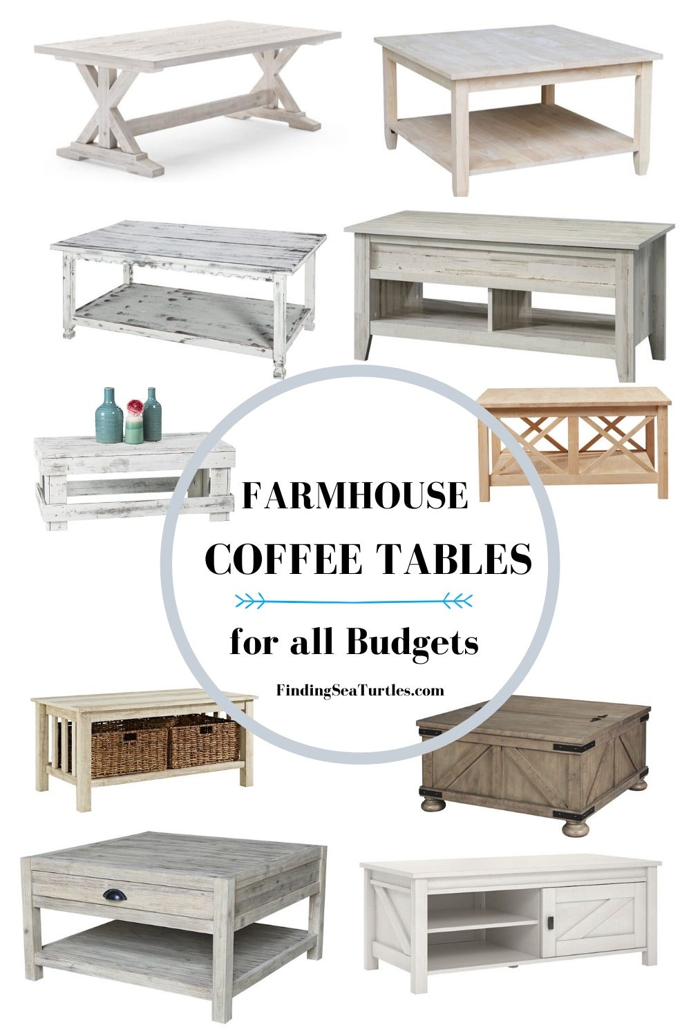 FARMHOUSE COFFEE TABLES for all Budgets #Farmhouse #FarmhouseDecor #Decor #CountryStyleDecor #CoffeeTables #CountryDecor #AffordableFarmhouse