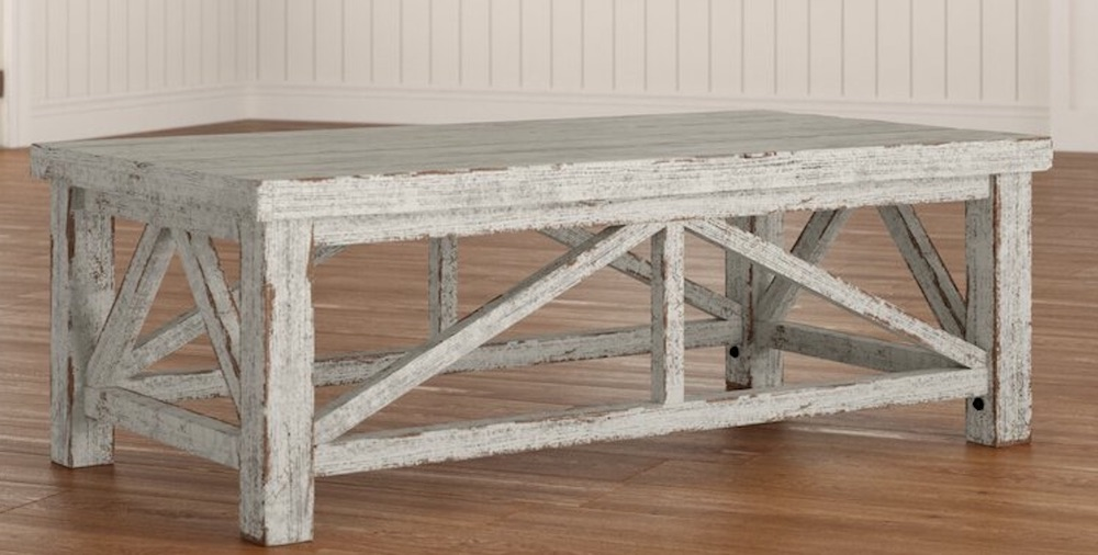 Rustic Inspired Details Solid Wood 4 Legs Coffee Table #Farmhouse #FarmhouseDecor #Decor #CountryStyleDecor #CoffeeTables #CountryDecor #AffordableFarmhouse