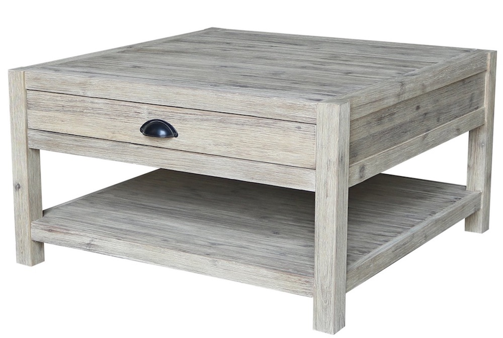 Farmhouse Coffee Tables Square Single Drawer Coffee Table #Farmhouse #FarmhouseDecor #Decor #CountryStyleDecor #CoffeeTables #CountryDecor #AffordableFarmhouse