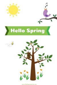Hello Spring 2020 Springtime Friends #HelloSpring #HelloSpring #HelloSpringPrintables #HelloSpringWallArt #DIY #WallArt #DIYDecor