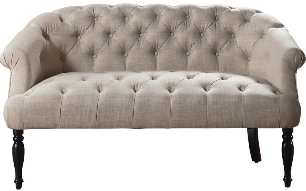 French Country Sofas Jalissa Chesterfield Rolled Arms Settee #FrenchCountry #FrenchCountryDecor #Decor #CountryStyleDecor #FrenchCountrySofas #FrenchDecor #Sofas