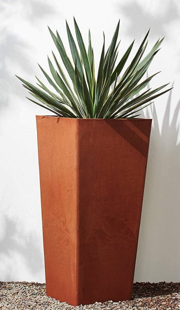 DIY Patio Refresh Contemporary Tall Square Planter Terra Cotta Color #DIY #Patio #DIYPatio #DIYPatioRefresh #Decor #PatioDecor #OutdoorDecor