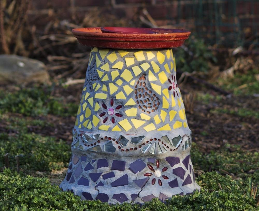 DIY Birdbath Plant Saucer supported by a Plant Container #Wildlife #NativePlants #Gardening #AttractBirds #WaterSourceForBirds #WaterForWildlife #BeneficialForPollinators #GardeningForPollinators