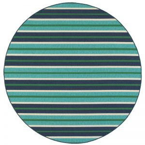 Pool Accessories Outfitted for Summer Kailani Striped Blue Round Rug #Pool #SummerPool #PoolFun #PoolDecor #PoolAccessories #SummerFun #Relax #DailySwim #PoolParty