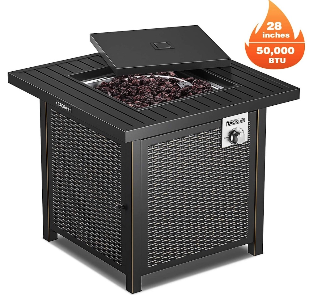 Propane Fire Pit Table #DIY #Patio #DIYPatio #DIYPatioRefresh #Decor #PatioDecor #OutdoorDecor