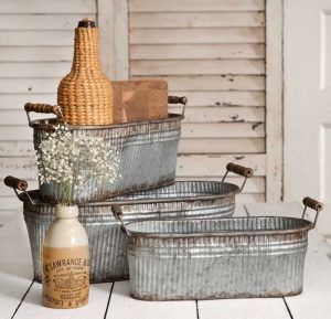 Rustic Bins with Wood Handles #Farmhouse #Storage #Organization #FarmhouseStorage #CountryStyleStorage #CountryDecor #FarmhouseOrganization #CountryStyle #VintageStyle
