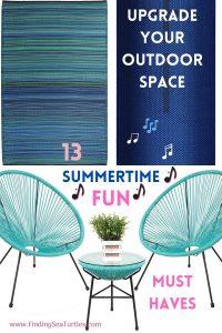 Upgrade your Outdoor Space 13 Summertime Fun Must Haves #DIY #Patio #DIYPatio #DIYPatioRefresh #Decor #PatioDecor #OutdoorDecor