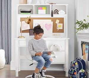 Home Schooling Catalina Storage Desk & Tall Hutch #KidsDesk #StudyAtHome #Decor #HomeSchool #Homework