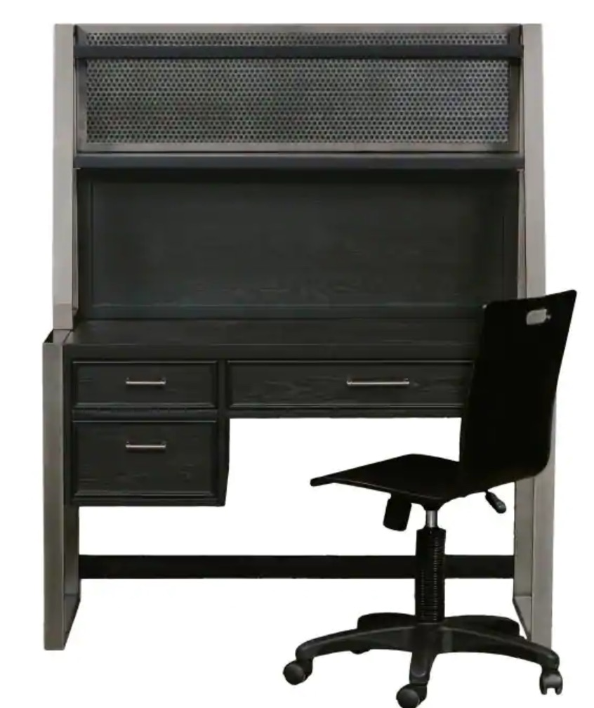 Study Workspace Graphite Kids Desk with Hutch #KidsDesk #StudyAtHome #Decor #HomeSchool #Homework