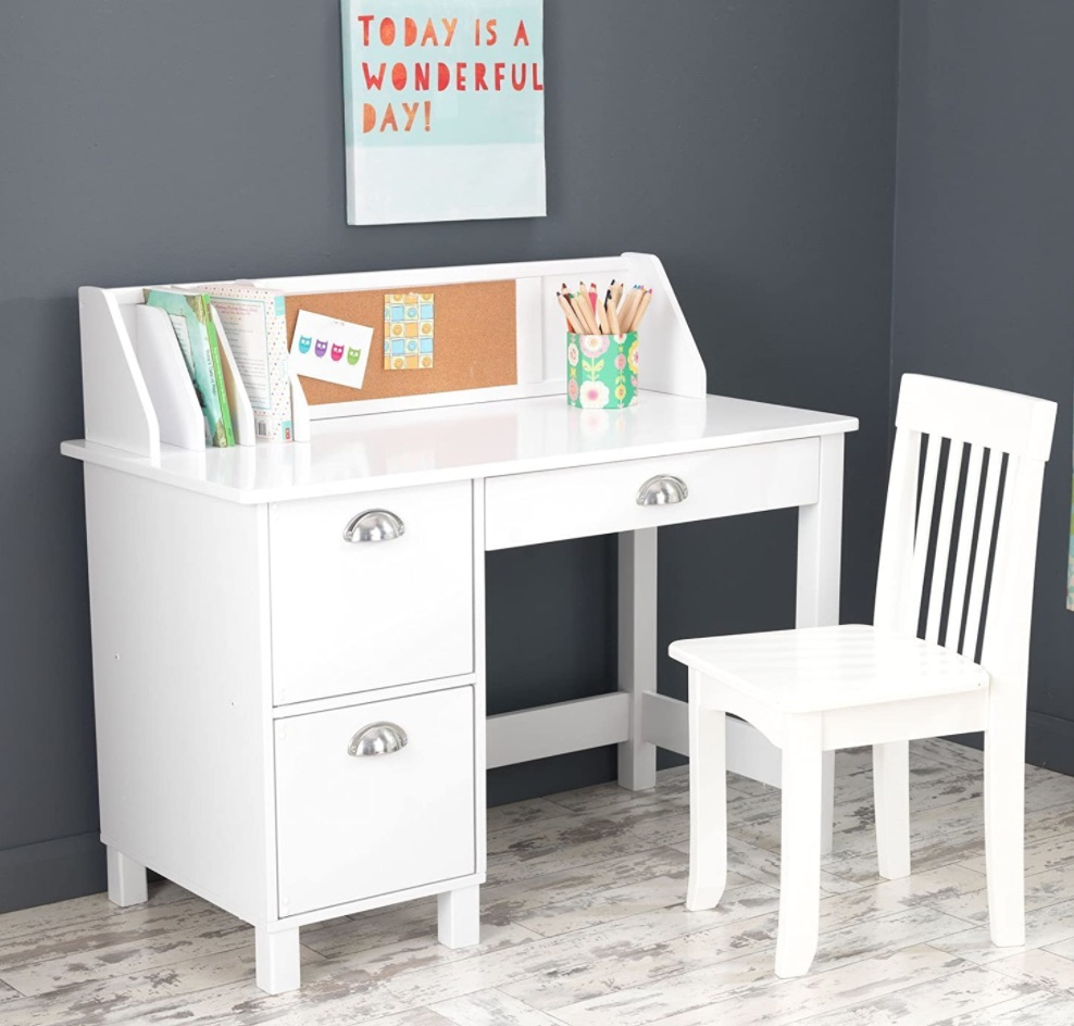 Study at Home Kids Study Desk and Chair #KidsDesk #StudyAtHome #Decor #HomeSchool #Homework