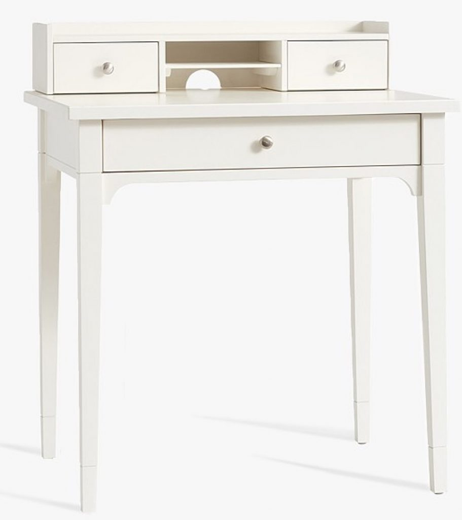 Small Space Living Morgan Simple Desk with Hutch in Simply White #KidsDesk #StudyAtHome #Decor #HomeSchool #Homework