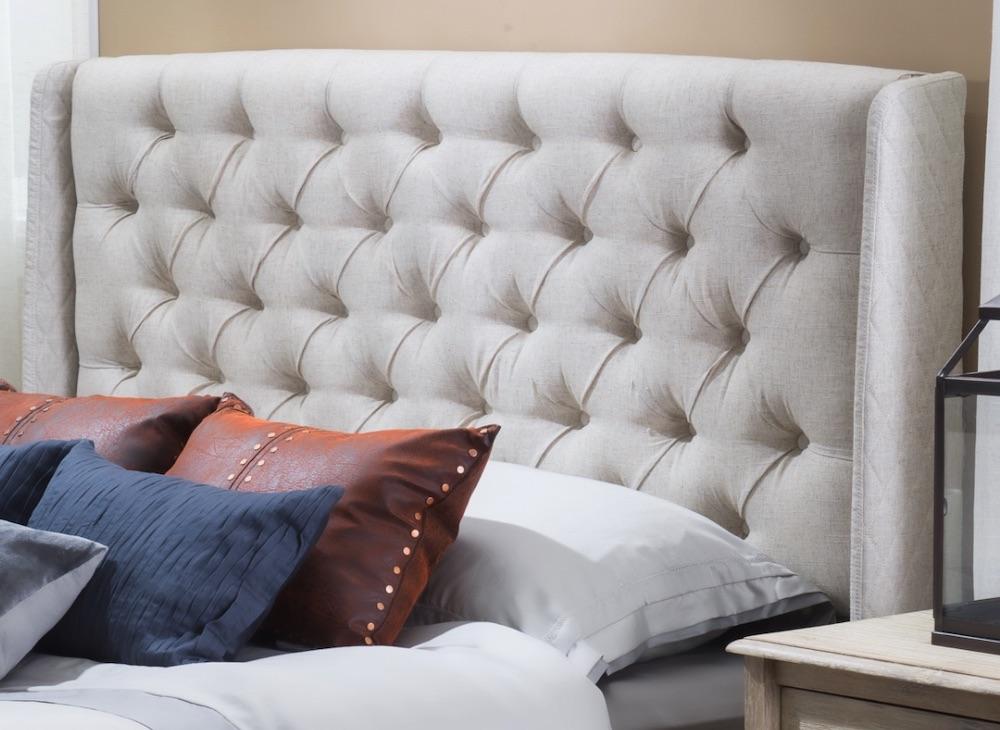 Transform the Bedroom Ashley Wingback Tufted Headboard #Headboards #UpholsteredHeadboards #GuestRoom #Bedroom #BedroomRefresh #BedroomUpgrade