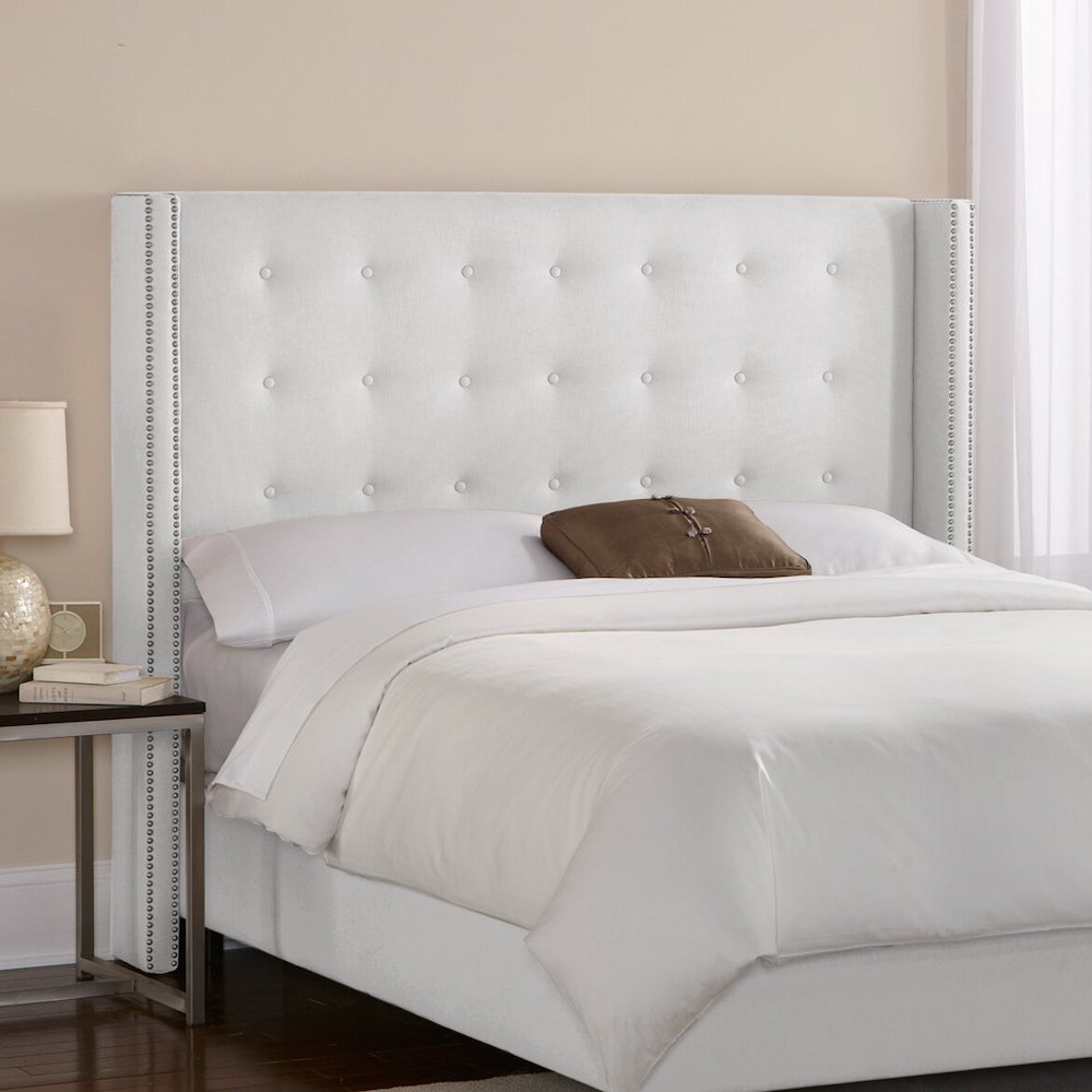 Best Upholstered Headboards Atherton Wood Frame Upholstered Wingback Headboard #Headboards #UpholsteredHeadboards #GuestRoom #Bedroom #BedroomRefresh #BedroomUpgrade