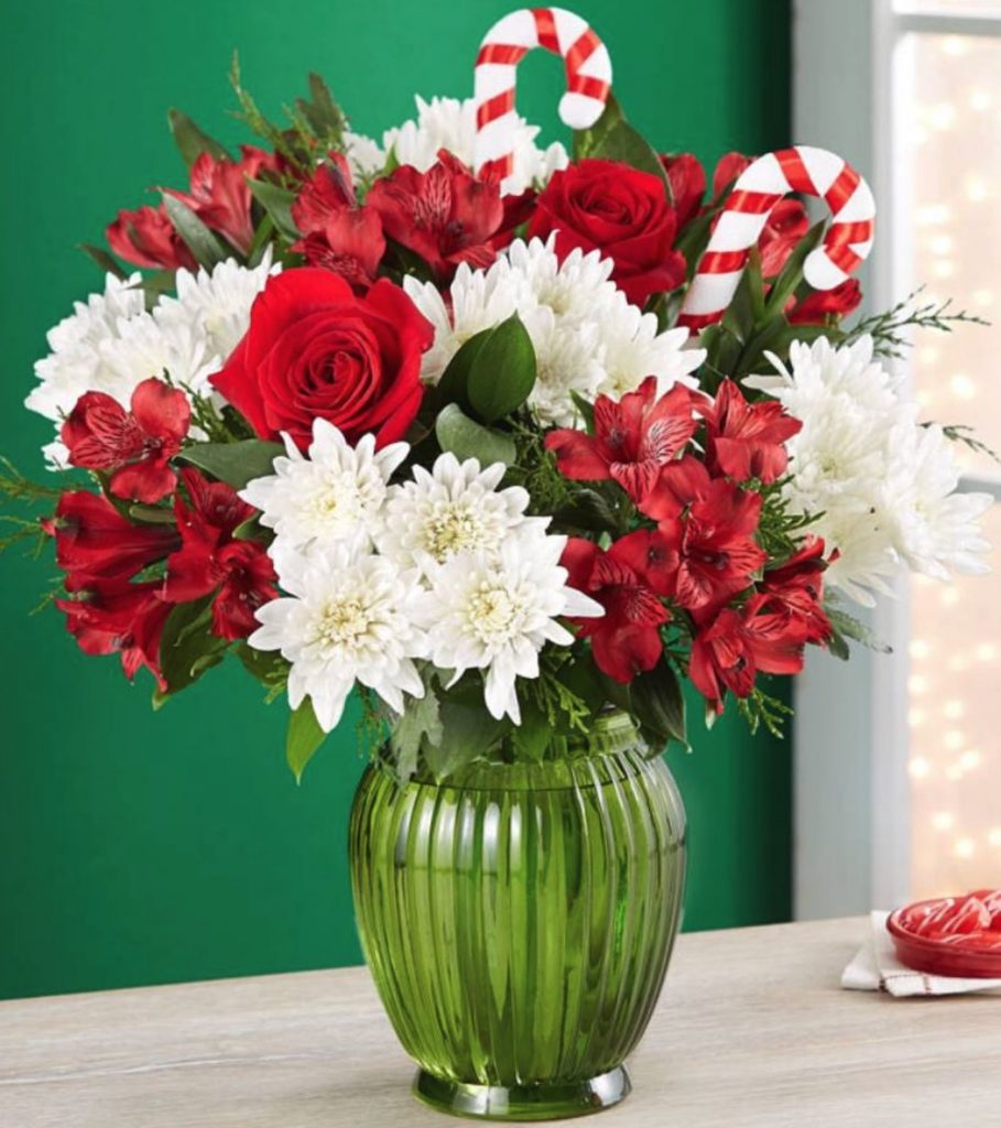 Celebrate the Season Candy Cane Swirl by Florist com #FreshFlowers #FlowerDelivery #bouquets #OnlineFlowers #FlowersOnline #Christmas #ChristmasFlowers #FestiveFlowers