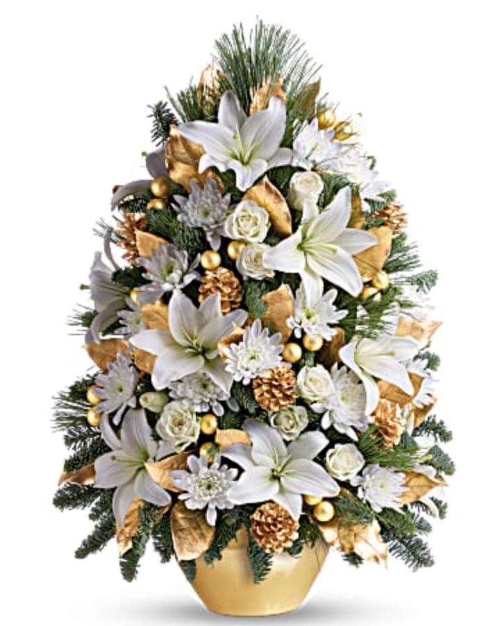 A Look of Elegance Celebration Tree by Teleflora #FreshMiniTree #MiniChristmasTree #TabletopChristmasTree #OnlineFlowers #ChristmasTrees #ChristmasTabletopTree