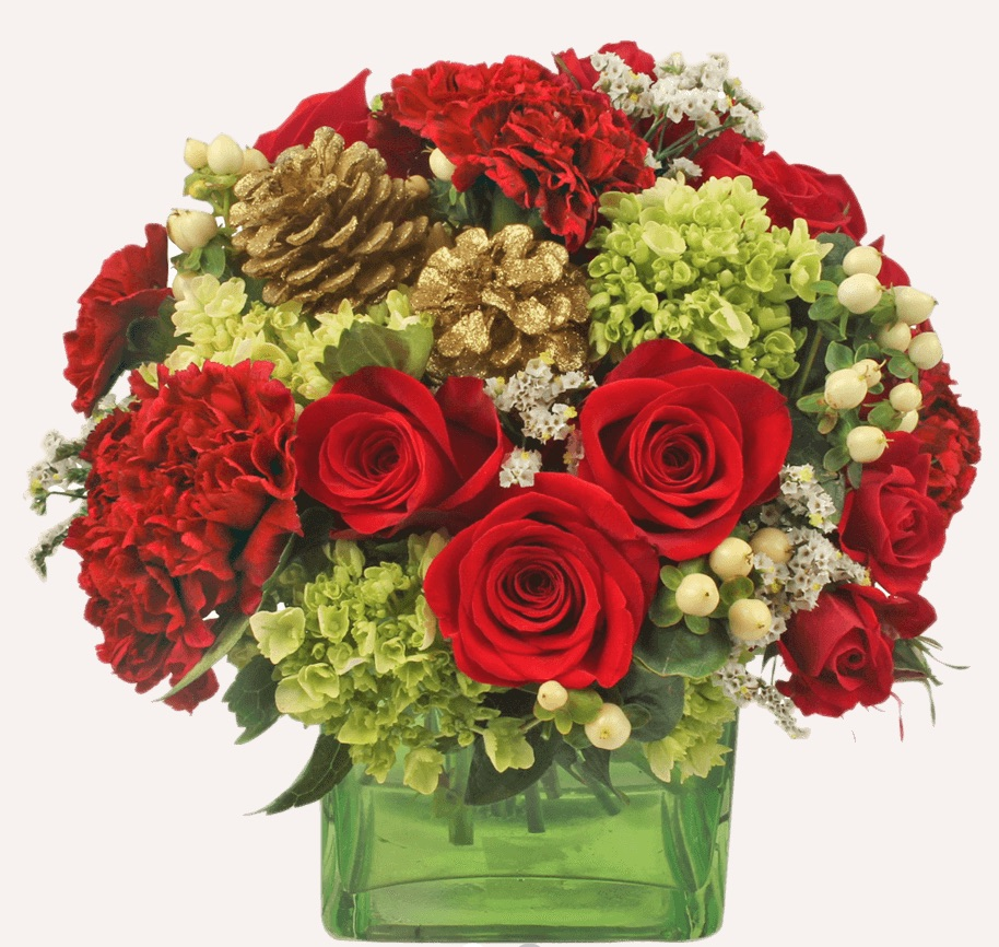 Seasons Greetings Christmas Golden Arrangement with Vase by Global Rose #FreshFlowers #FlowerDelivery #bouquets #OnlineFlowers #FlowersOnline #Christmas #ChristmasFlowers #FestiveFlowers