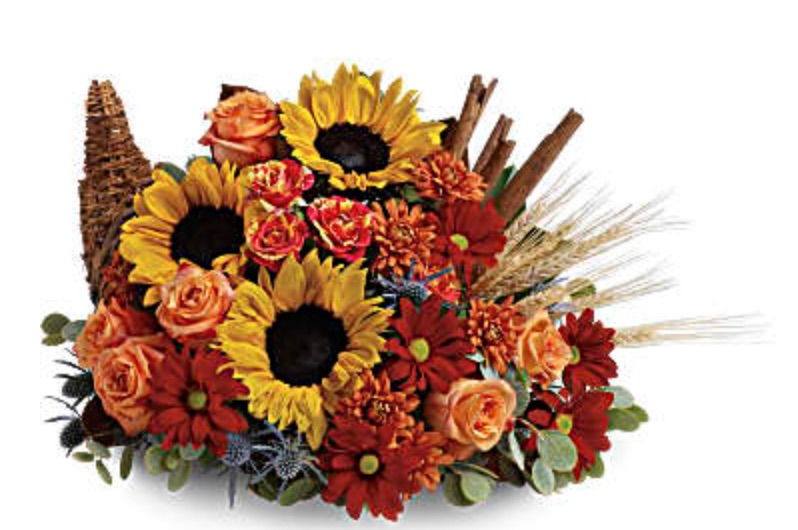 The Autumn Table Classic Cornucopia by Teleflora #FreshFlowers #flowerdelivery #bouquets #OnlineFlowers #FlowersOnline #AutumnFlowers #FallFlowers #ThanksgivingFlowers