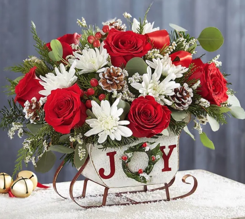 Tis the Season Dashing Through the Snow Sleigh by 1800flowers #FreshFlowers #FlowerDelivery #bouquets #OnlineFlowers #FlowersOnline #Christmas #ChristmasFlowers #FestiveFlowers