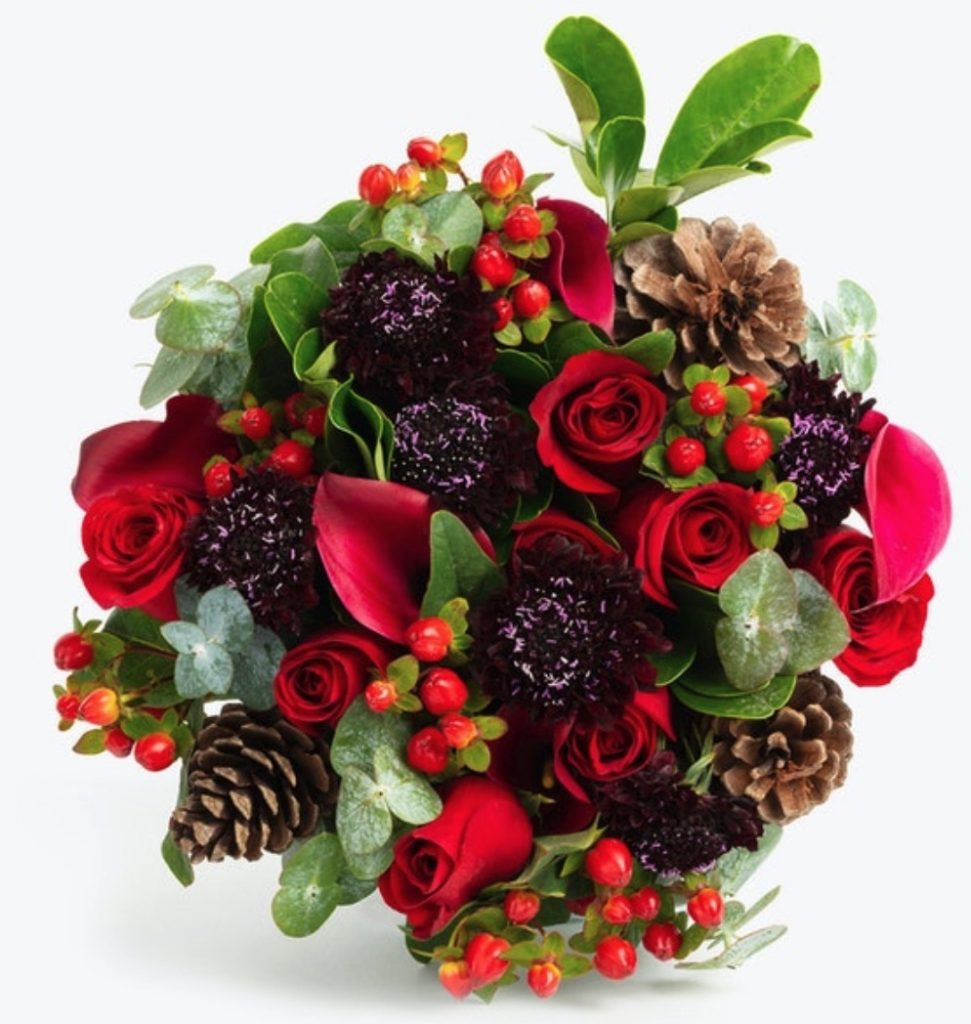 Celebrate the Season Fireplace Premium by BloomsyBox #FreshFlowers #FlowerDelivery #bouquets #OnlineFlowers #FlowersOnline #Christmas #ChristmasFlowers #FestiveFlowers
