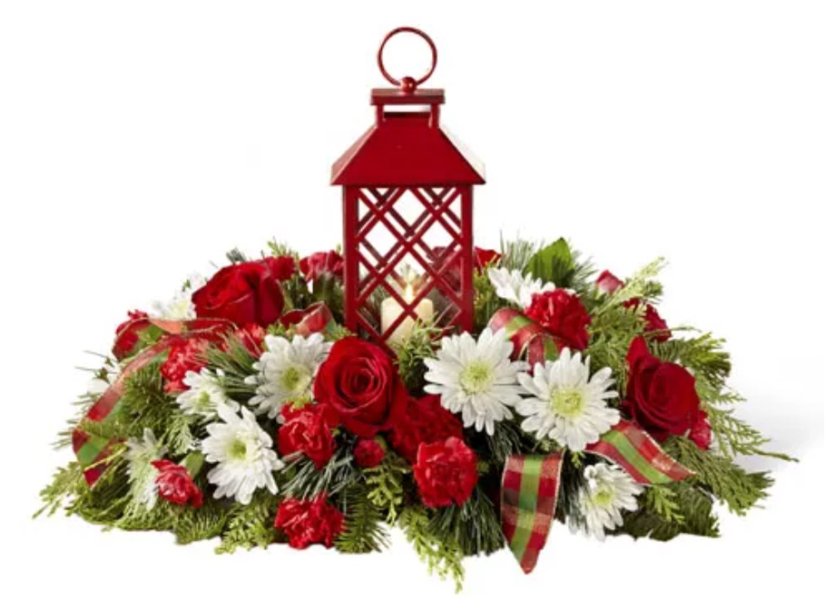 Best Fresh Christmas Centerpieces Floral Lantern Centerpiece by Send Flowers #FreshFlowers #flowerdelivery #Centerpiece #OnlineFlowers #FlowersOnline #ChristmasCenterpieces #ChristmasTableCenterpiece #ChristmasFlowers