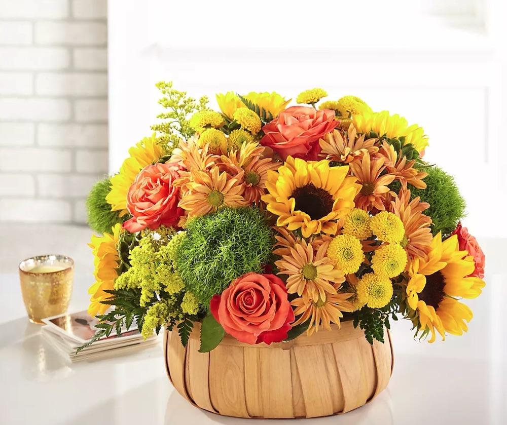 Best Online Thanksgiving Flowers Harvest Sunflower Basket by FTD #FreshFlowers #flowerdelivery #bouquets #OnlineFlowers #FlowersOnline #AutumnFlowers #FallFlowers #ThanksgivingFlowers