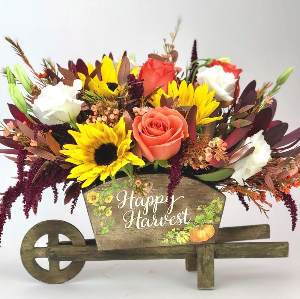 Autumn Decor Harvest Time by Twinbrook Floral Design and Bloomnation #FreshFlowers #flowerdelivery #bouquets #OnlineFlowers #FlowersOnline #AutumnFlowers #FallFlowers #ThanksgivingFlowers