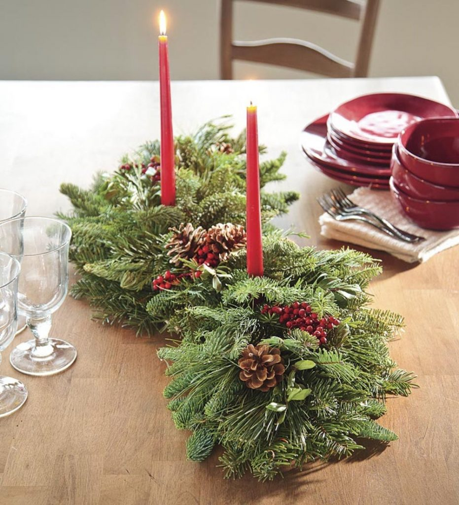 Best Fresh Christmas Centerpieces Holiday Woodland Evergreens Centerpiece by Plow and Hearth #FreshFlowers #flowerdelivery #Centerpiece #OnlineFlowers #FlowersOnline #ChristmasCenterpieces #ChristmasTableCenterpiece #ChristmasFlowers
