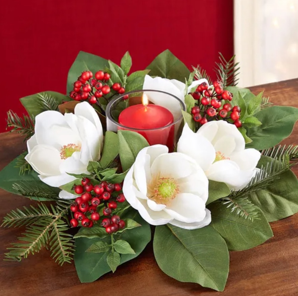 A Festive Table Top Magnolia Berry Centerpiece by 1 800 Flowers