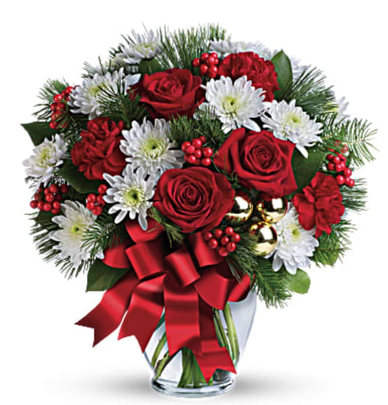 Best Online Christmas Flowers Merry Beautiful Bouquet by Teleflora #FreshFlowers #FlowerDelivery #bouquets #OnlineFlowers #FlowersOnline #Christmas #ChristmasFlowers #FestiveFlowers