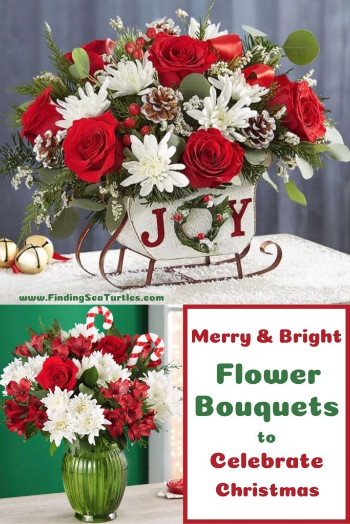 Merry & Bright Flower Bouquets to Celebrate Christmas #FreshFlowers #FlowerDelivery #bouquets #OnlineFlowers #FlowersOnline #Christmas #ChristmasFlowers #FestiveFlowers