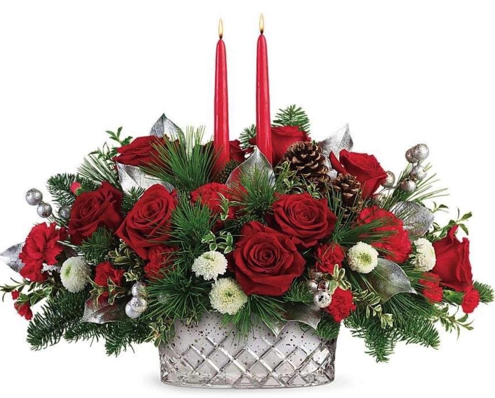 Elegant Floral Pieces Merry Mercury Centerpiece by Kremp Florist #FreshFlowers #flowerdelivery #Centerpiece #OnlineFlowers #FlowersOnline #ChristmasCenterpieces #ChristmasTableCenterpiece #ChristmasFlowers