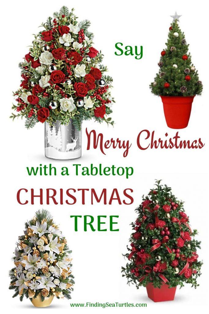 Fresh Tabletop Christmas Trees Say Merry Christmas with a Tabletop Christmas Tree #FreshMiniTree #MiniChristmasTree #TabletopChristmasTree #OnlineFlowers #ChristmasTrees #ChristmasTabletopTree