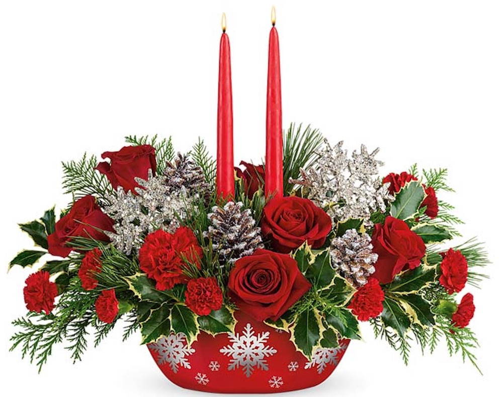 The Festive Table Sugarplum Snowflake Centerpiece by From You Flowers #FreshFlowers #flowerdelivery #Centerpiece #OnlineFlowers #FlowersOnline #ChristmasCenterpieces #ChristmasTableCenterpiece #ChristmasFlowers