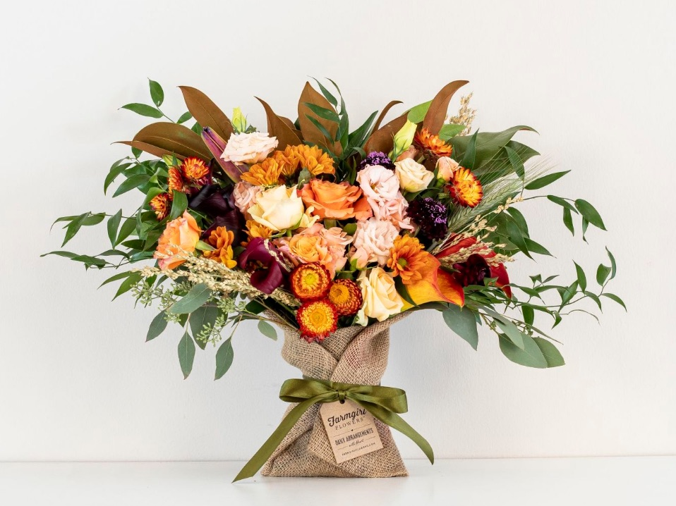 Gift Giving for the Autumn Season The Just Right Burlap Wrapped Bouquet by FarmGirl Flowers #FreshFlowers #flowerdelivery #bouquets #OnlineFlowers #FlowersOnline #AutumnFlowers #FallFlowers #ThanksgivingFlowers
