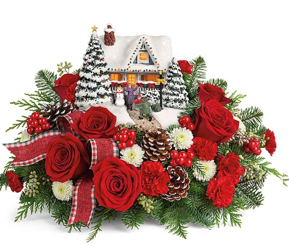 Home for the Holidays Thomas Kinkade's Hero's Welcome From You Flowers #FreshFlowers #FlowerDelivery #bouquets #OnlineFlowers #FlowersOnline #Christmas #ChristmasFlowers #FestiveFlowers