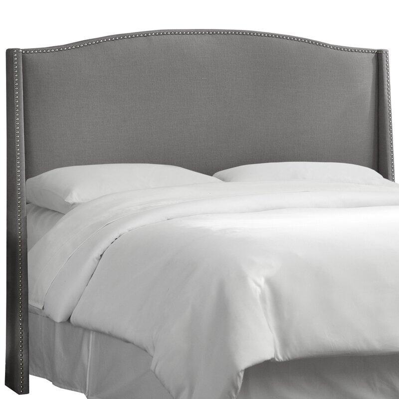 Best Upholstered Headboards Vernon Linen Nail Button Upholstered Wingback Headboard #Headboards #UpholsteredHeadboards #GuestRoom #Bedroom #BedroomRefresh #BedroomUpgrade