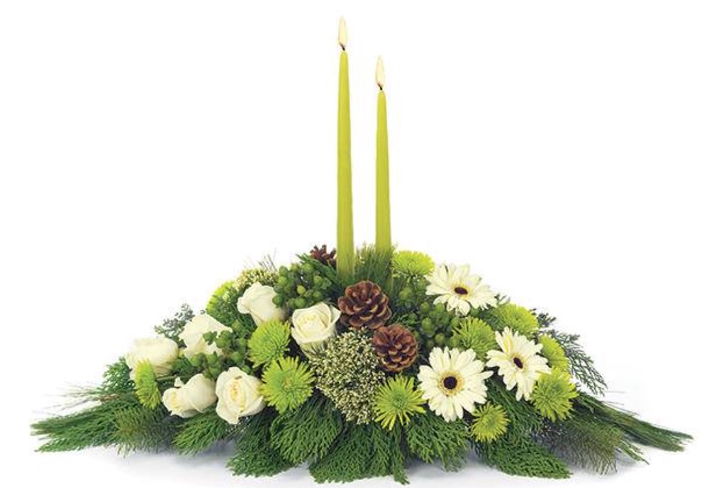 Celebrate the Holidays Winter White Centerpiece by Florists com #FreshFlowers #flowerdelivery #Centerpiece #OnlineFlowers #FlowersOnline #ChristmasCenterpieces #ChristmasTableCenterpiece #ChristmasFlowers