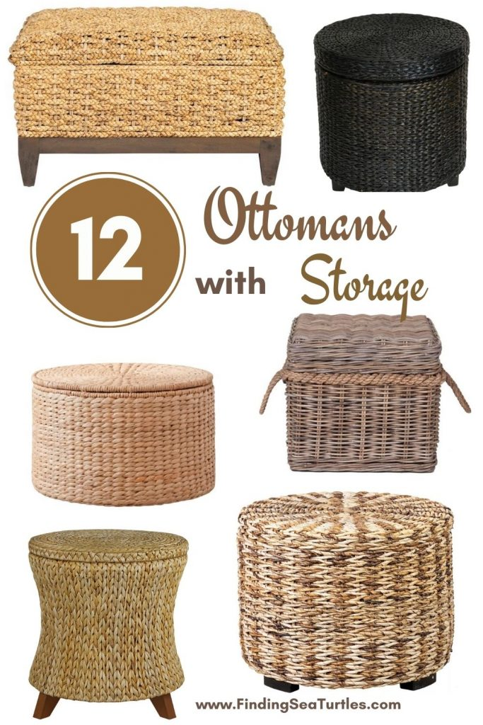 Rattan Ottomans with Storage 12 Ottomans with Storage #Ottoman#Storage #RattanOttomans #StorageOttoman #HomeStorage #Organization #TidyHome #Coastal