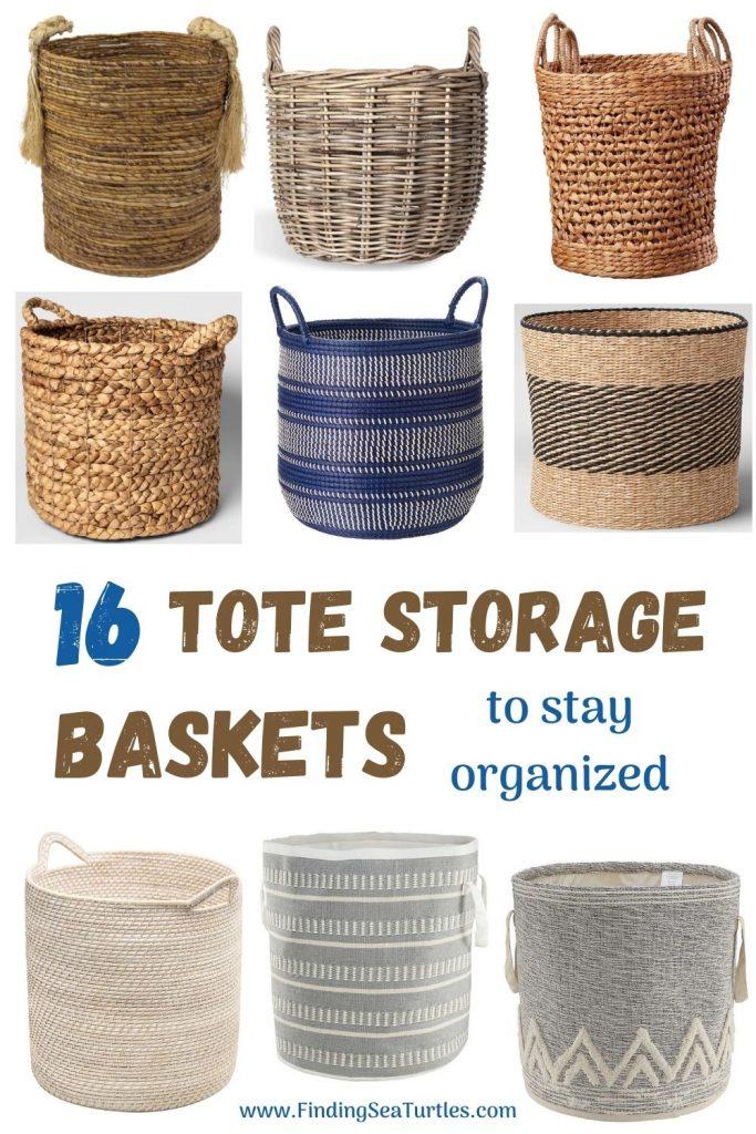16 Tote Storage Baskets to stay organized #Storage #Baskets #BasketStorage #ToteBaskets #HomeStorage #Organization #ATidyHome