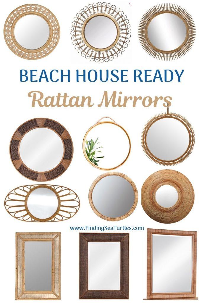 BEACH HOUSE READY Rattan Mirrors #Mirrors #Coastal #RattanMirrors #BeachHome #CoastalDecor #CoastalFurniture #Seaside #Tropical #Island